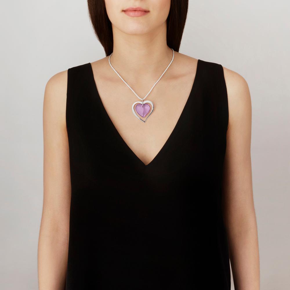 Amoureuse pour la Vie pendant | Parma crystal, silver | Costume jewellery Lalique