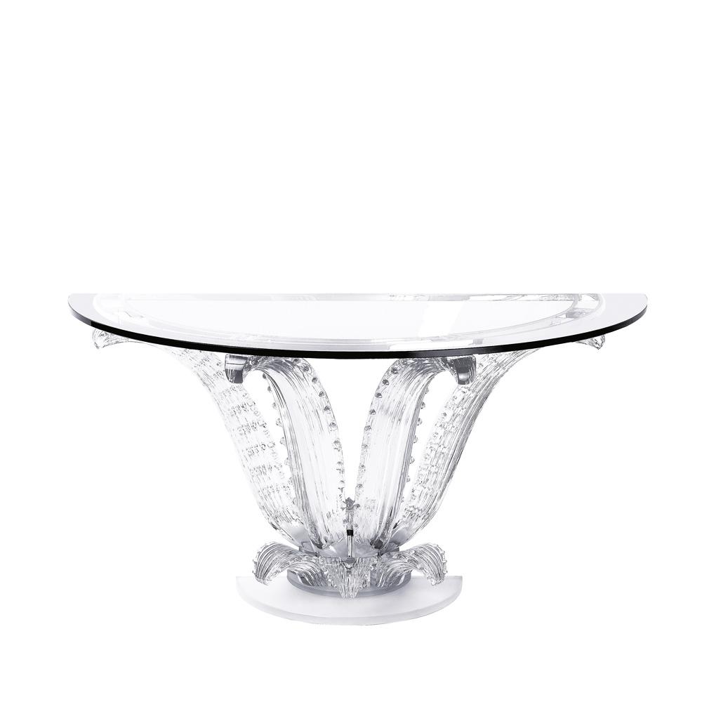 Cactus console table   Half-moon console talbe, clear crystal   Interior Design Lalique