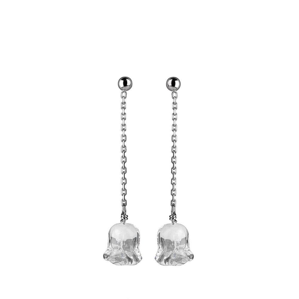 Muguet long earrings | Clear crystal, silver | Costume jewellery Lalique