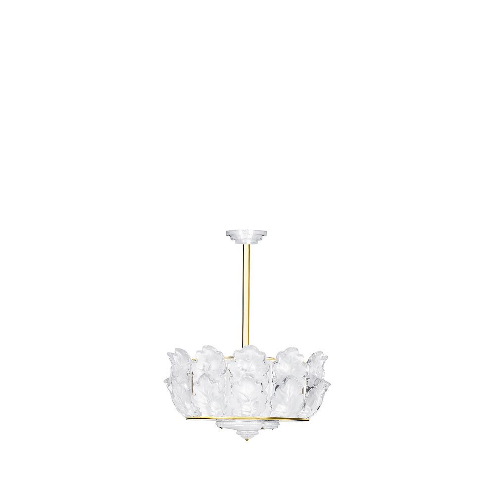 Chêne chandelier | Clear crystal, gilded finish, large size | Interior Design Lalique