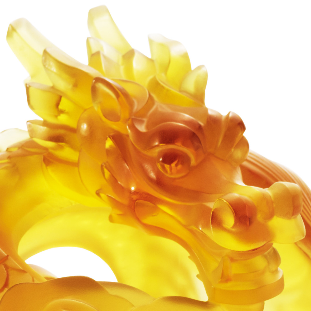 Flying Dragon sculpture | Limited edition (88 pieces), amber crystal, lost wax | Sculpture Lalique