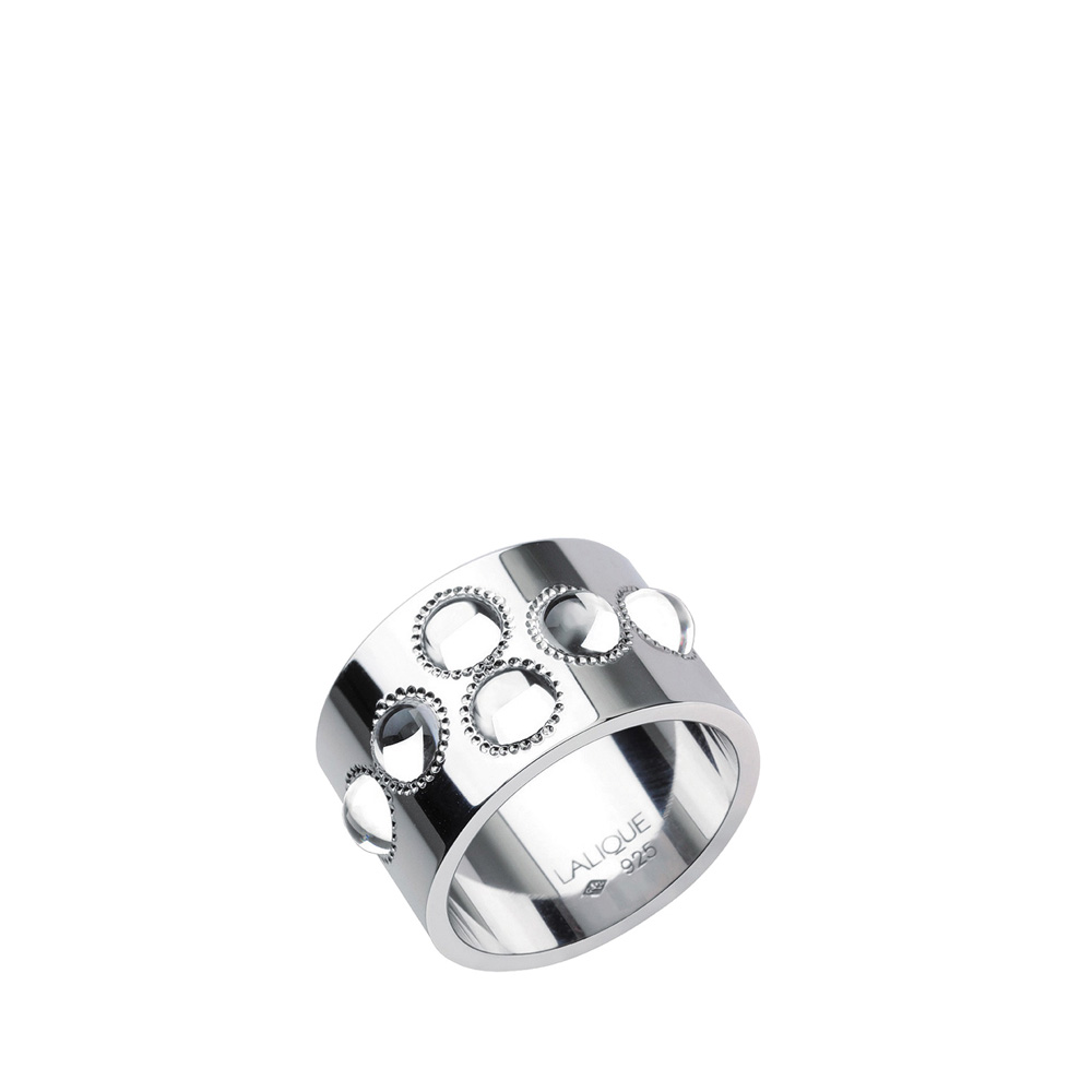 Pétillante ring | 6 clear crystals, silver | Costume jewellery Lalique