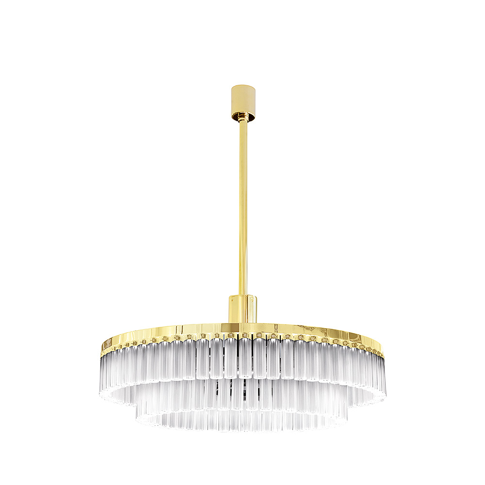 Orgue chandelier | Clear crystal, gilded finish, large size (119 crystals) | Interior Design Lalique