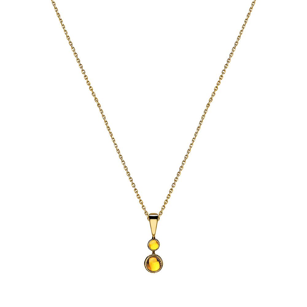 Pétillante pendant | Amber crystal, yellow gold | Fine jewellery Lalique