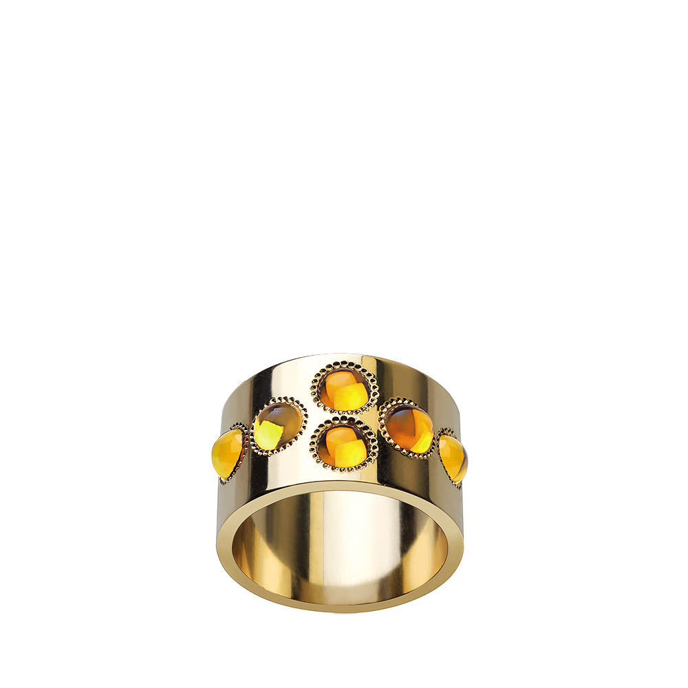 Pétillante large band ring | 6 amber crystals, yellow gold | Fine jewellery Lalique