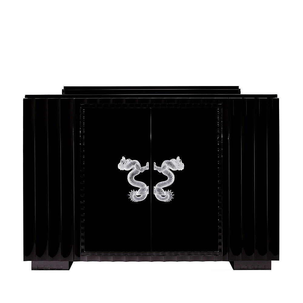 Dragon bar | Numbered edition, clear crystal and black ebony, large size | Bar Lalique