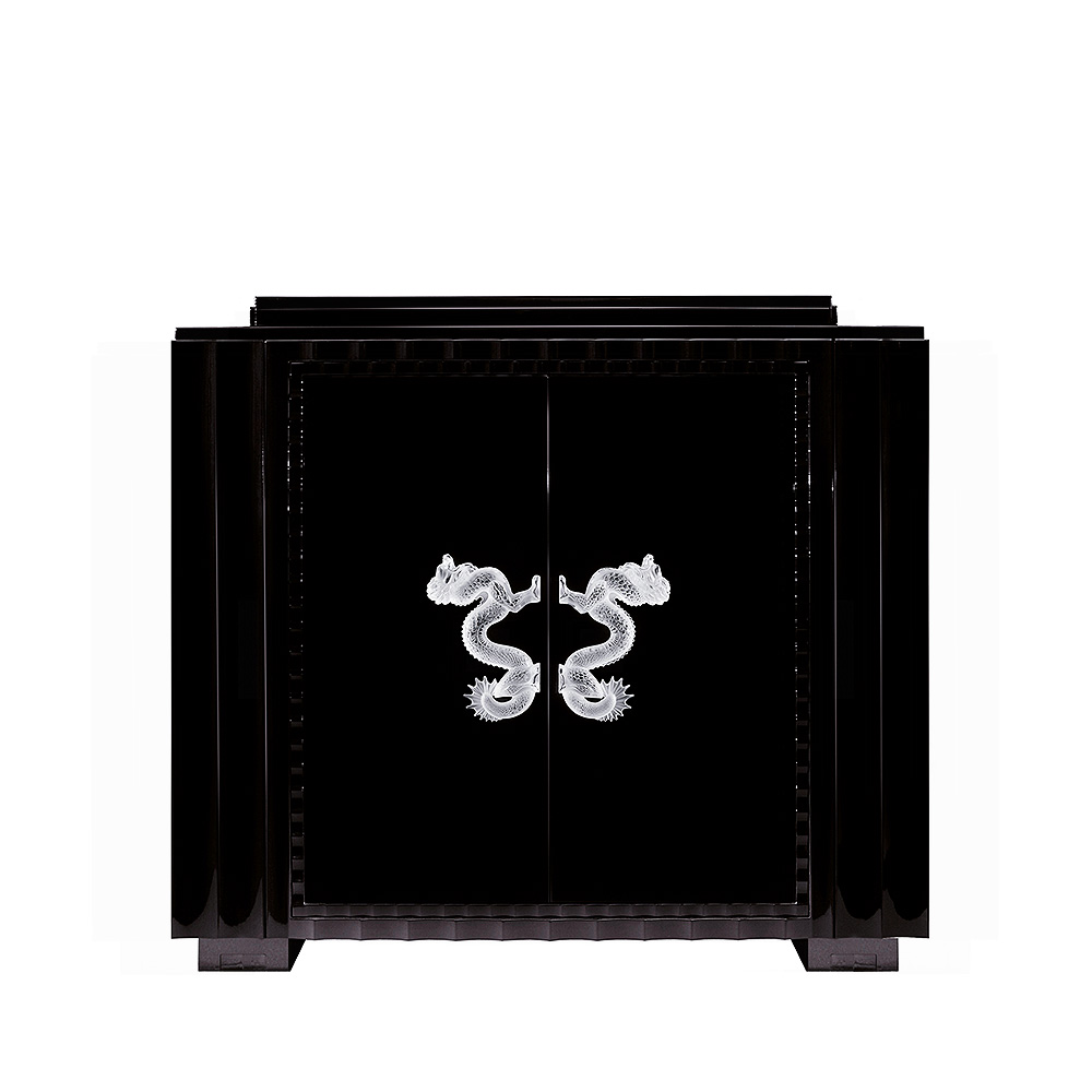 Dragon bar | Numbered edition, clear crystal and black ebony, small size | Bar Lalique