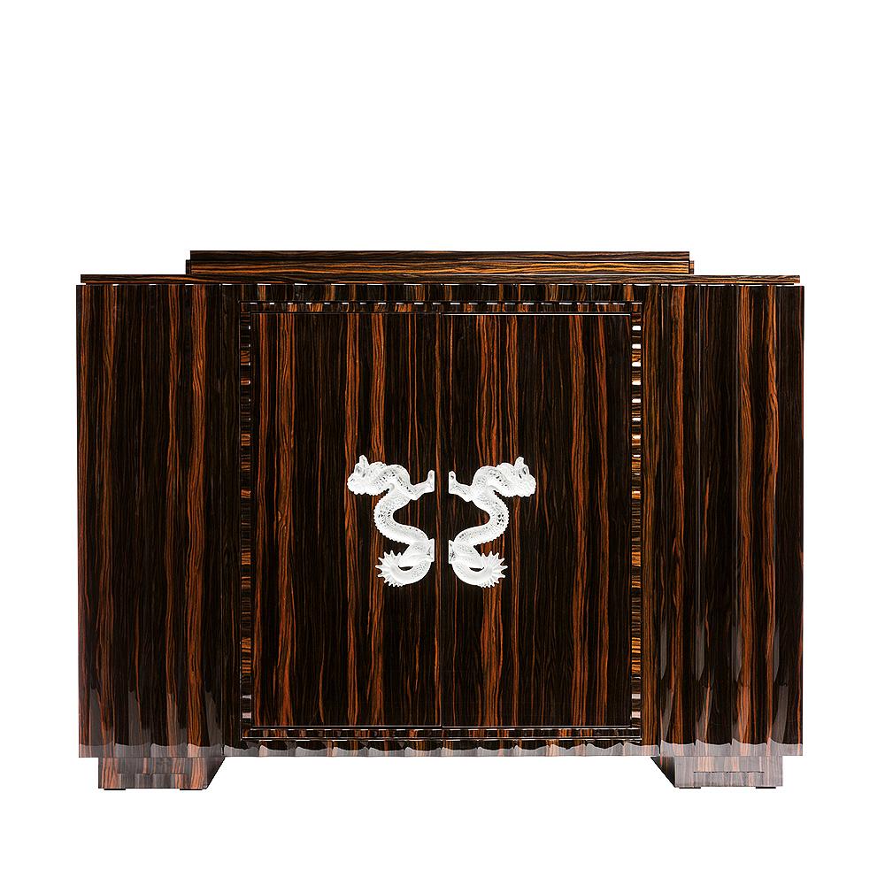 Dragon bar | Numbered edition, clear crystal and natural ebony | Bar Lalique