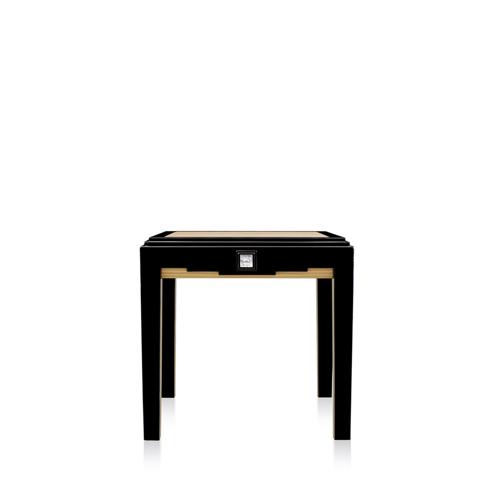 Masque de Femme side table | Numbered edition, clear crystal, black lacquered and ivory ash, large size | Side table Lalique