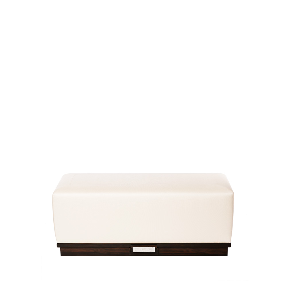 Raisins ottoman | Numbered edition, clear crystal, natural ebony and ivory silk, medium size | Ottoman Lalique
