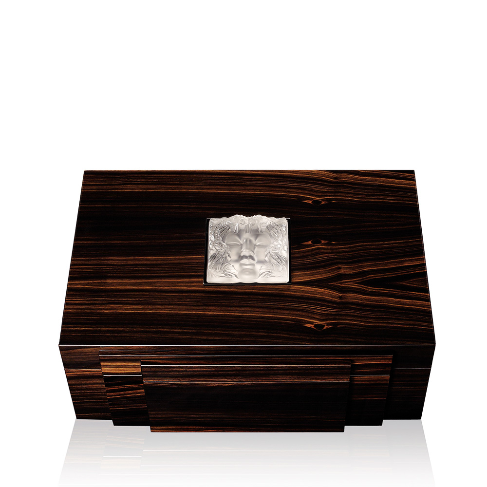Masque de Femme jewellery box | Numbered edition, natural ebony with clear crystal, medium size | Box Lalique