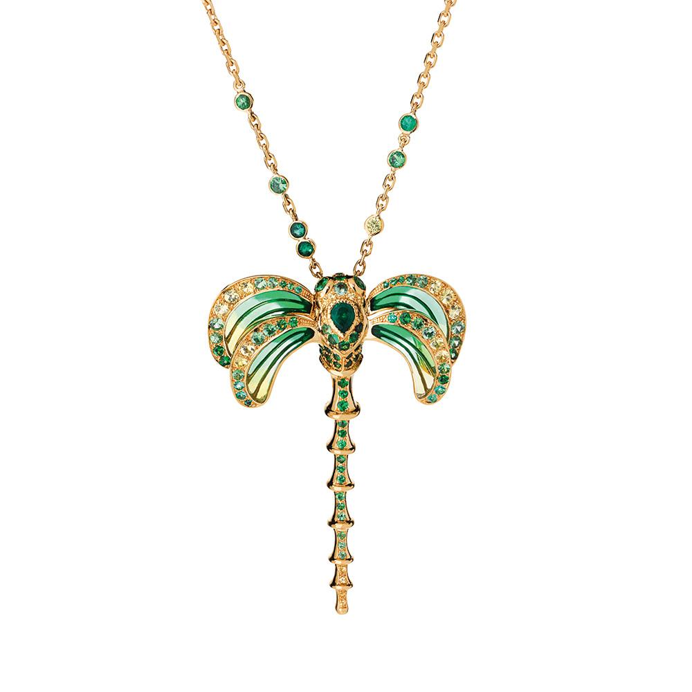 Libellule pendant | Emeralds, yellow gold | Fine jewellery Lalique