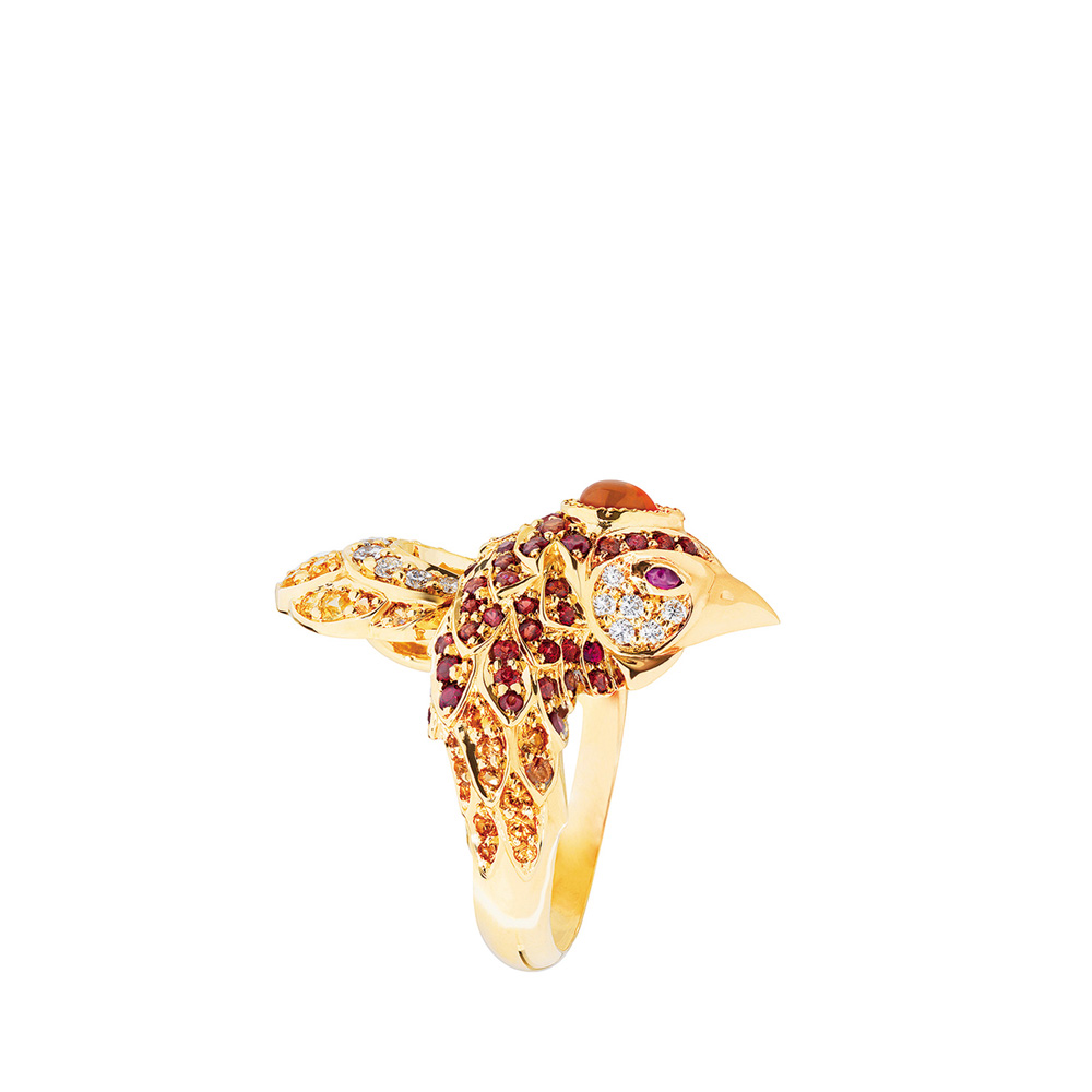Phoenix ring | Fire opal, rubies, sapphires and diamonds, yellow gold | Fine jewellery Lalique