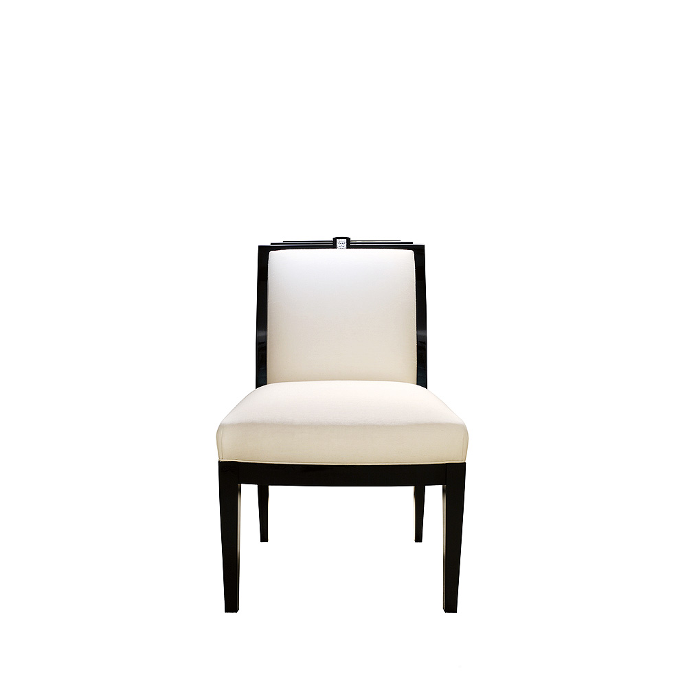 Masque de Femme classic chair | Numbered edition, clear crystal, black lacquered and ivory silk, chair without arms | Chair Lalique