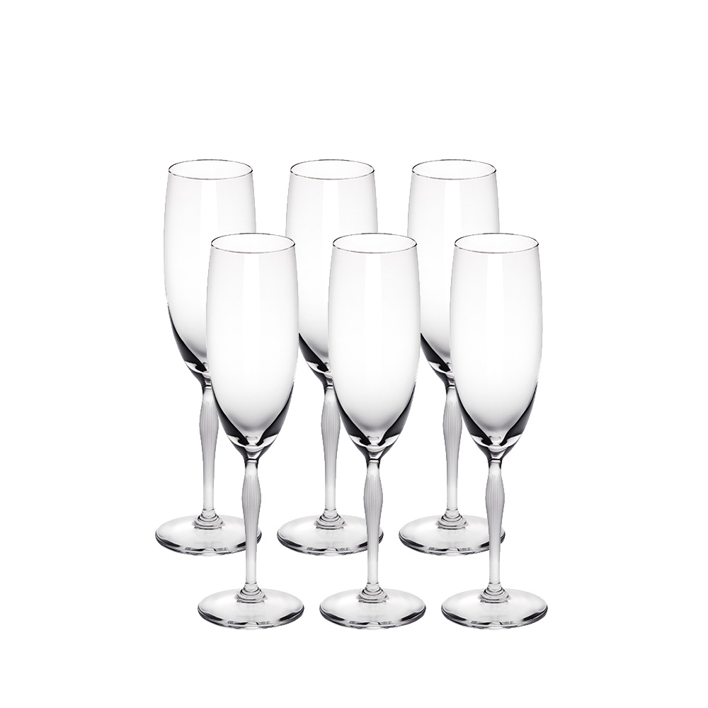 Set of 6 Champagne glasses 100 POINTS | 100 POINTS by James Suckling, clear crystal | Glass Lalique