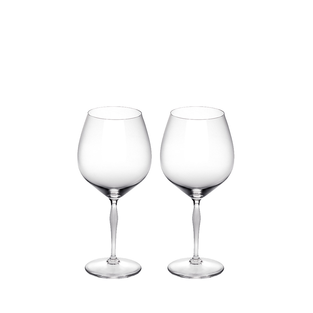Set of 2 Burgundy glasses 100 POINTS | 100 POINTS by James Suckling, clear crystal | Glass Lalique