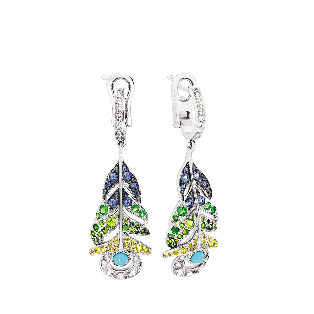 Paon earrings | Turquoises, sapphires, diamonds, white gold | Fine jewellery Lalique