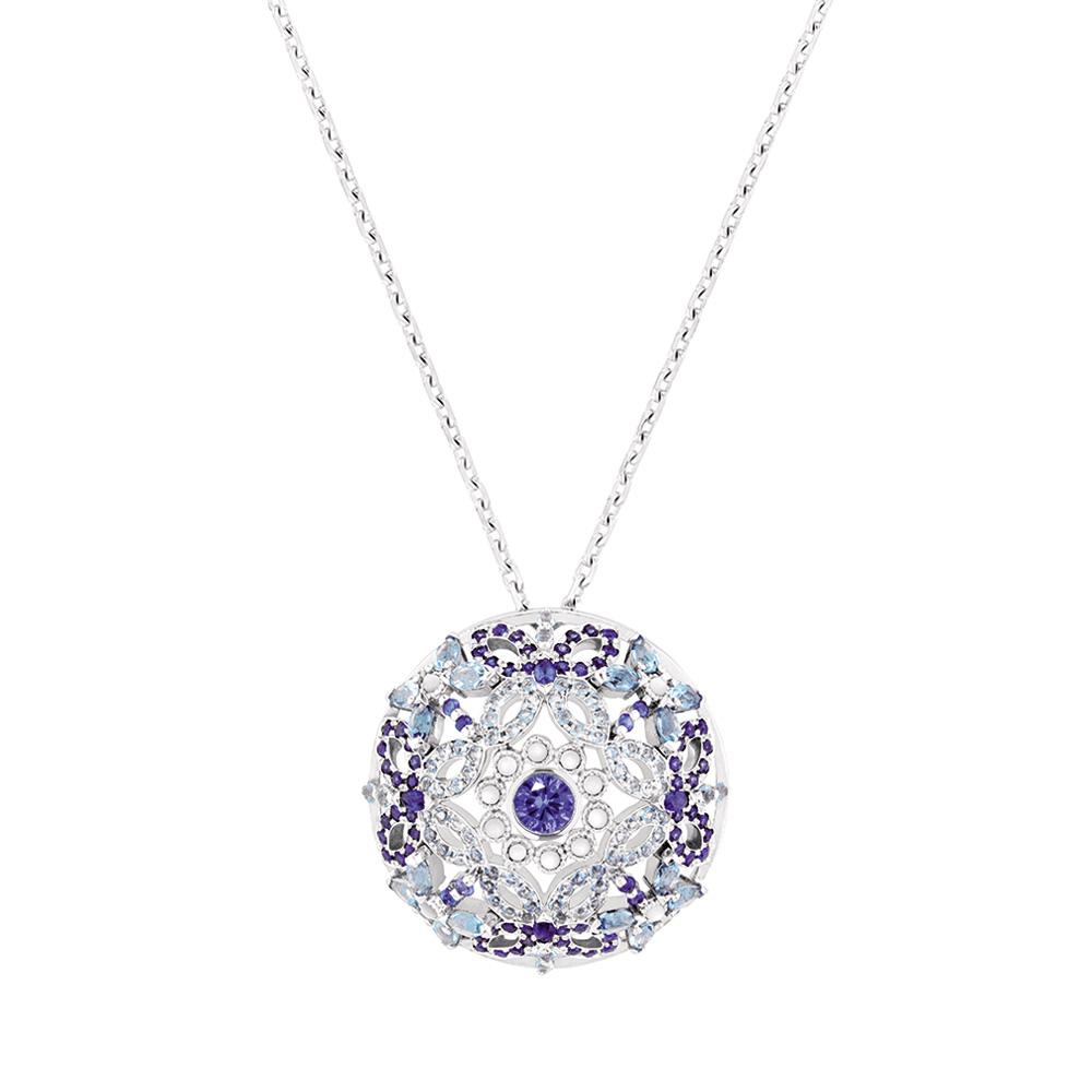 Ailes de Psyché pendant | Sapphires, aquamarines, diamonds, mother of pearls, white gold | Fine jewellery Lalique