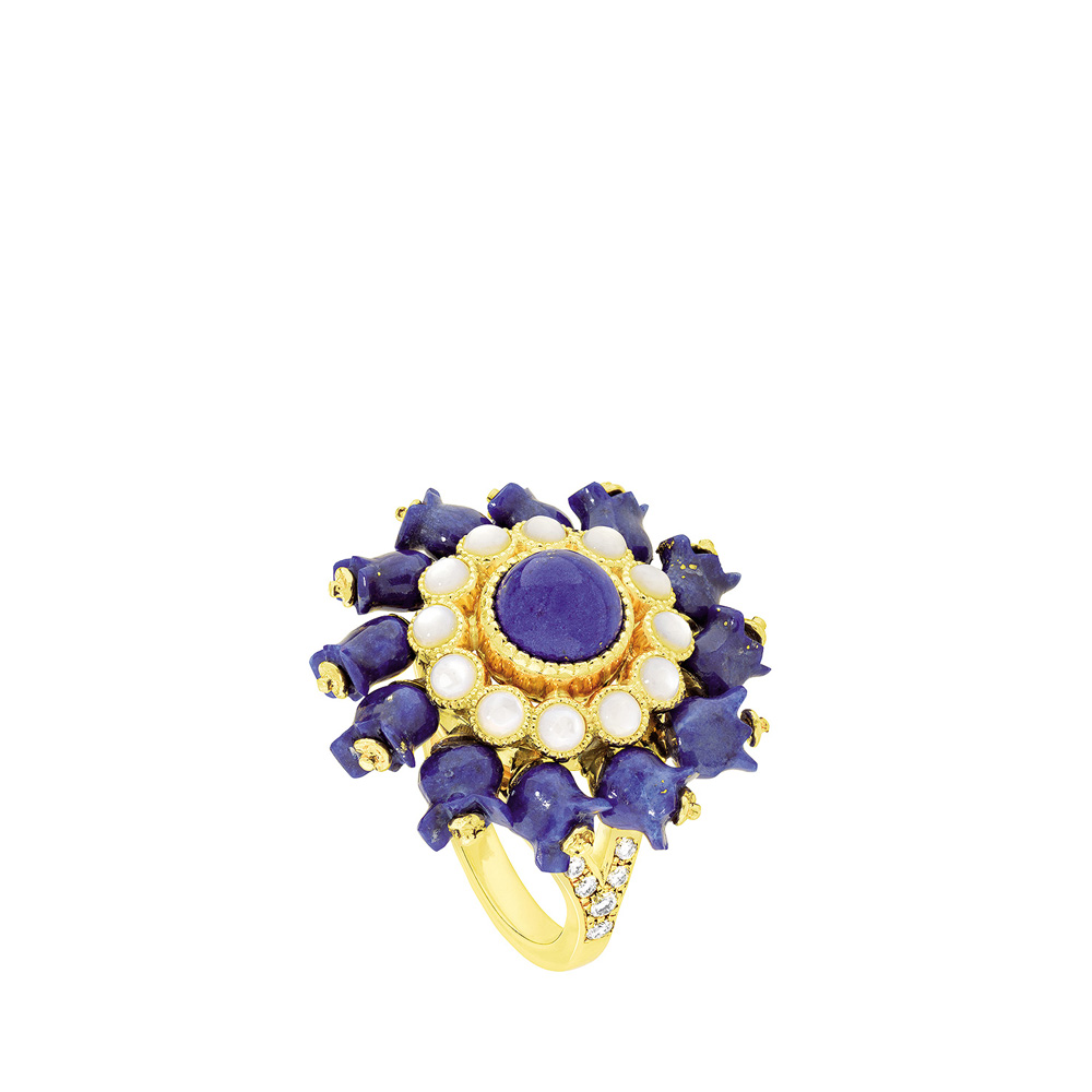 Muguet ring | Lapis lazuli, diamonds, red gold | Fine jewellery Lalique