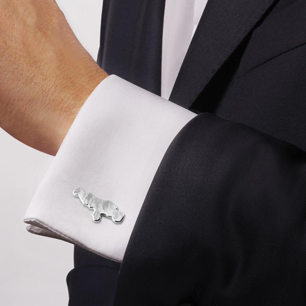 Bugatti cufflinks | Clear crystal, silver | Costume jewellery Lalique