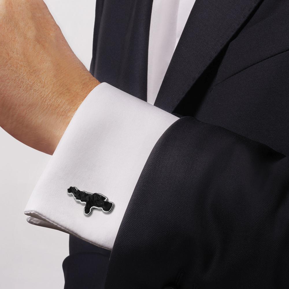 Bugatti cufflinks | Black crystal, silver | Costume jewellery Lalique
