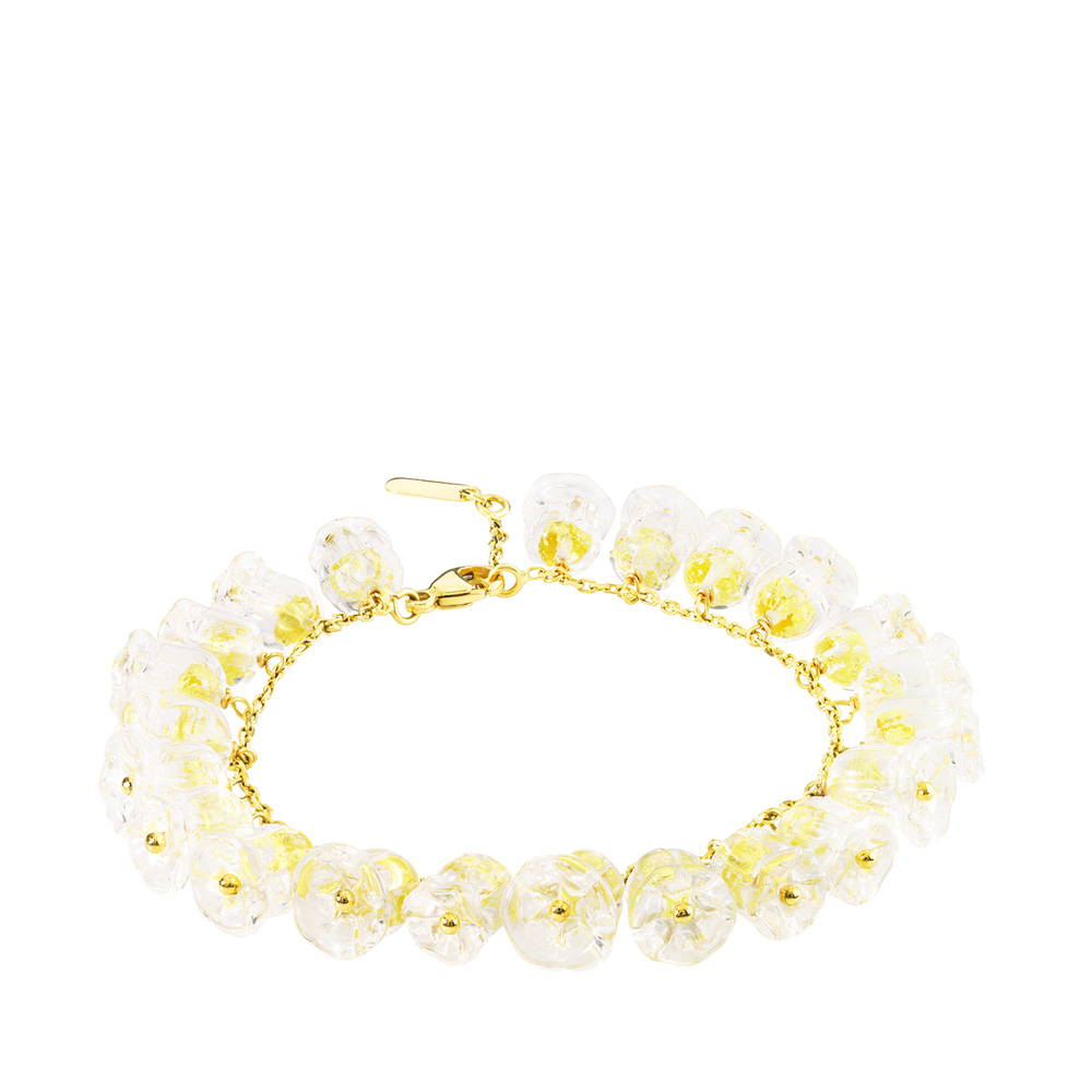 Muguet bracelet | 26 clear crystals, yellow gold | Fine jewellery Lalique