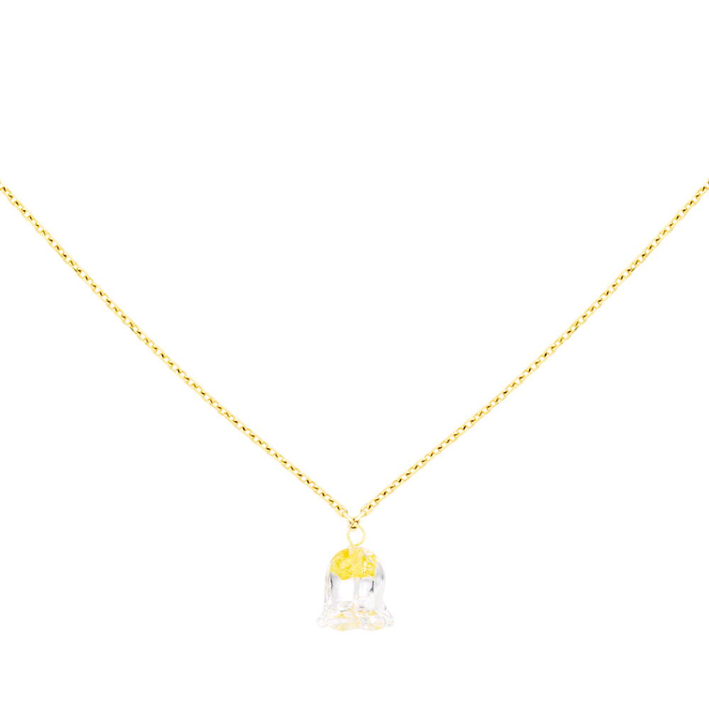 Muguet necklace | Clear crystal with golden glass powder, yellow gold | Fine jewellery Lalique