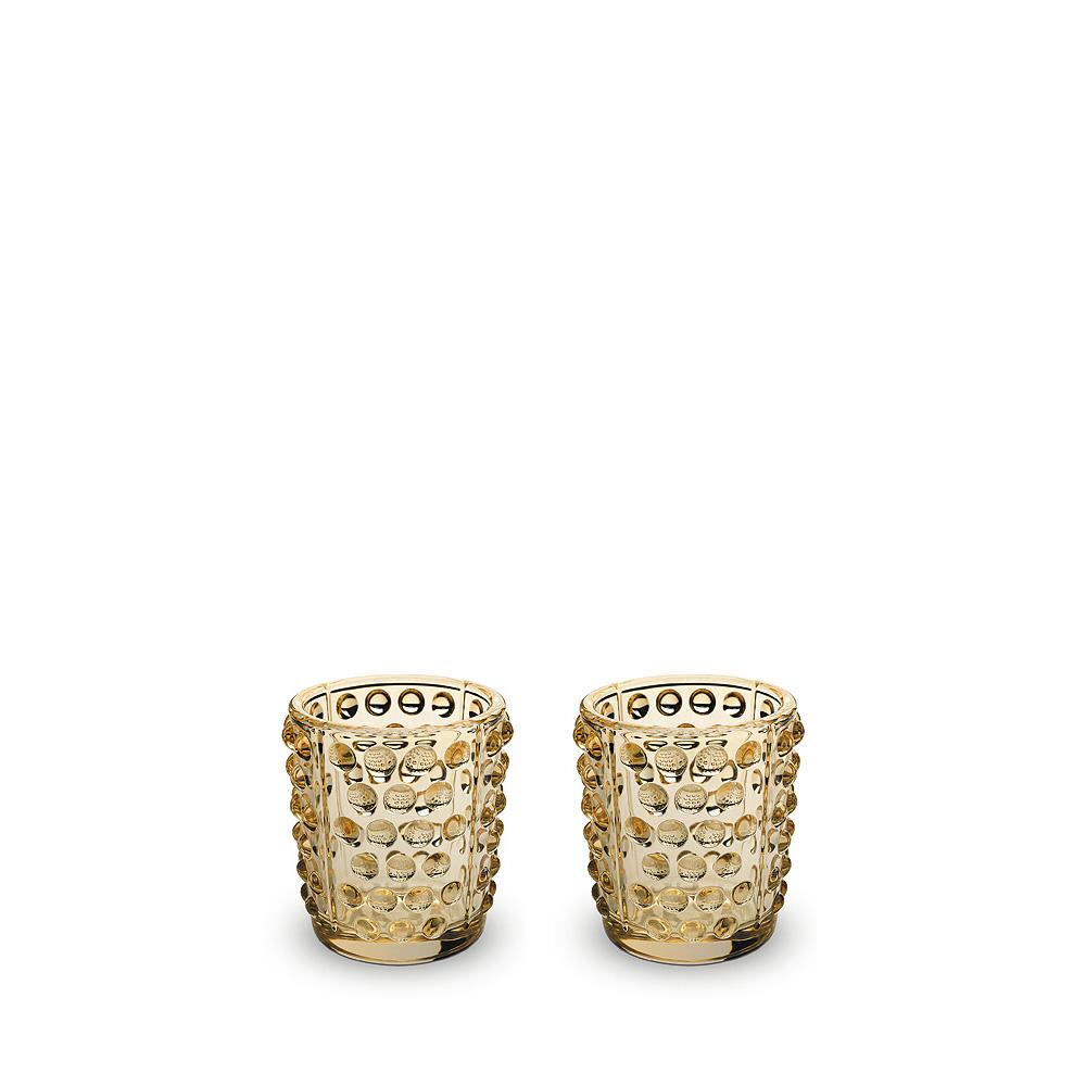 Set of 2 Mossi votives | Gold luster crystal | Candleholder & votive Lalique