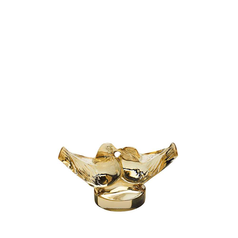 2 Lovebirds sculpture | Gold luster crystal, small size | Sculpture Lalique
