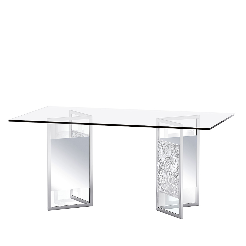 Merles et Raisins pair of reflective trestles | Clear crystal, brushed finish | Interior Design Lalique