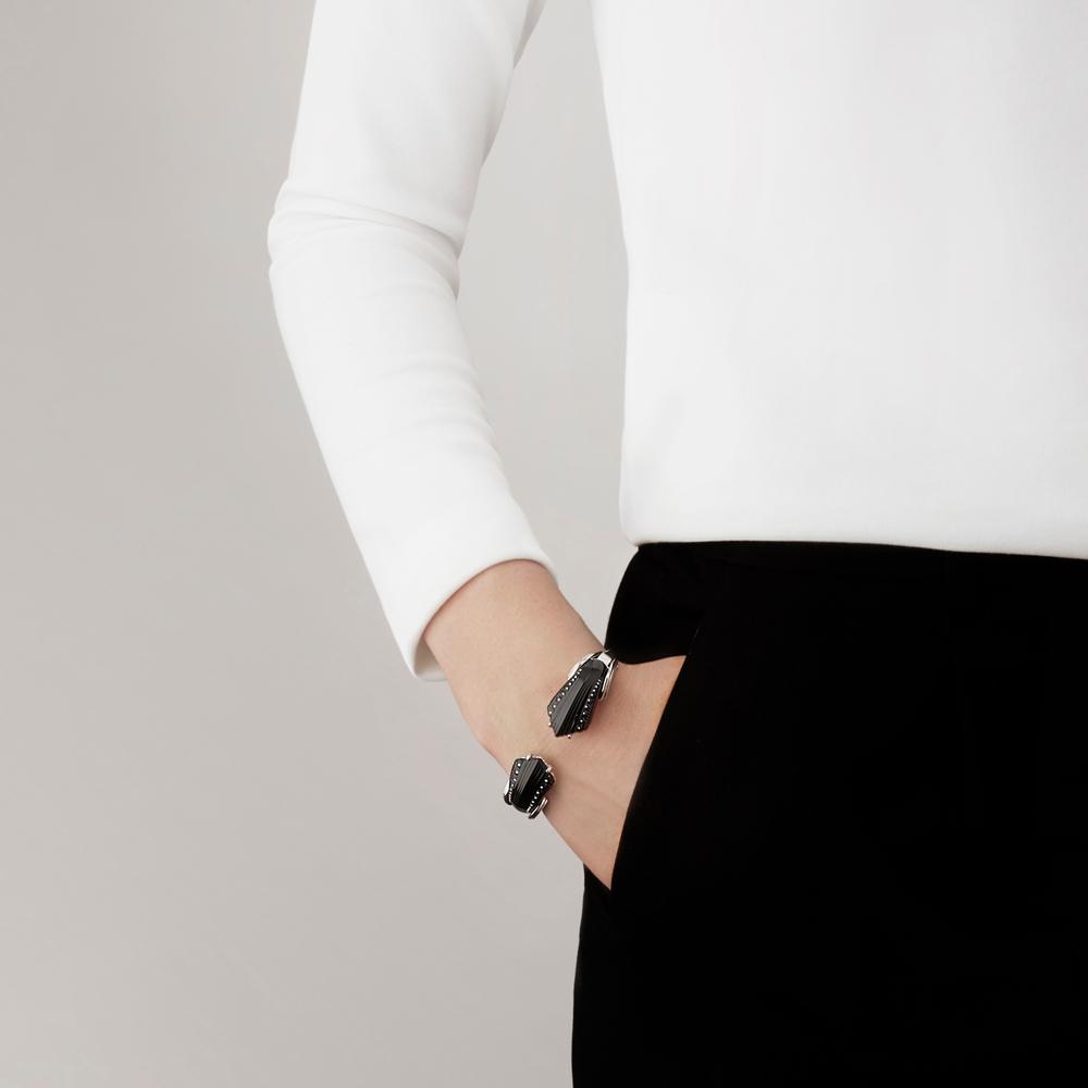 Icône bracelet | Black crystal, silver | Costume jewellery Lalique