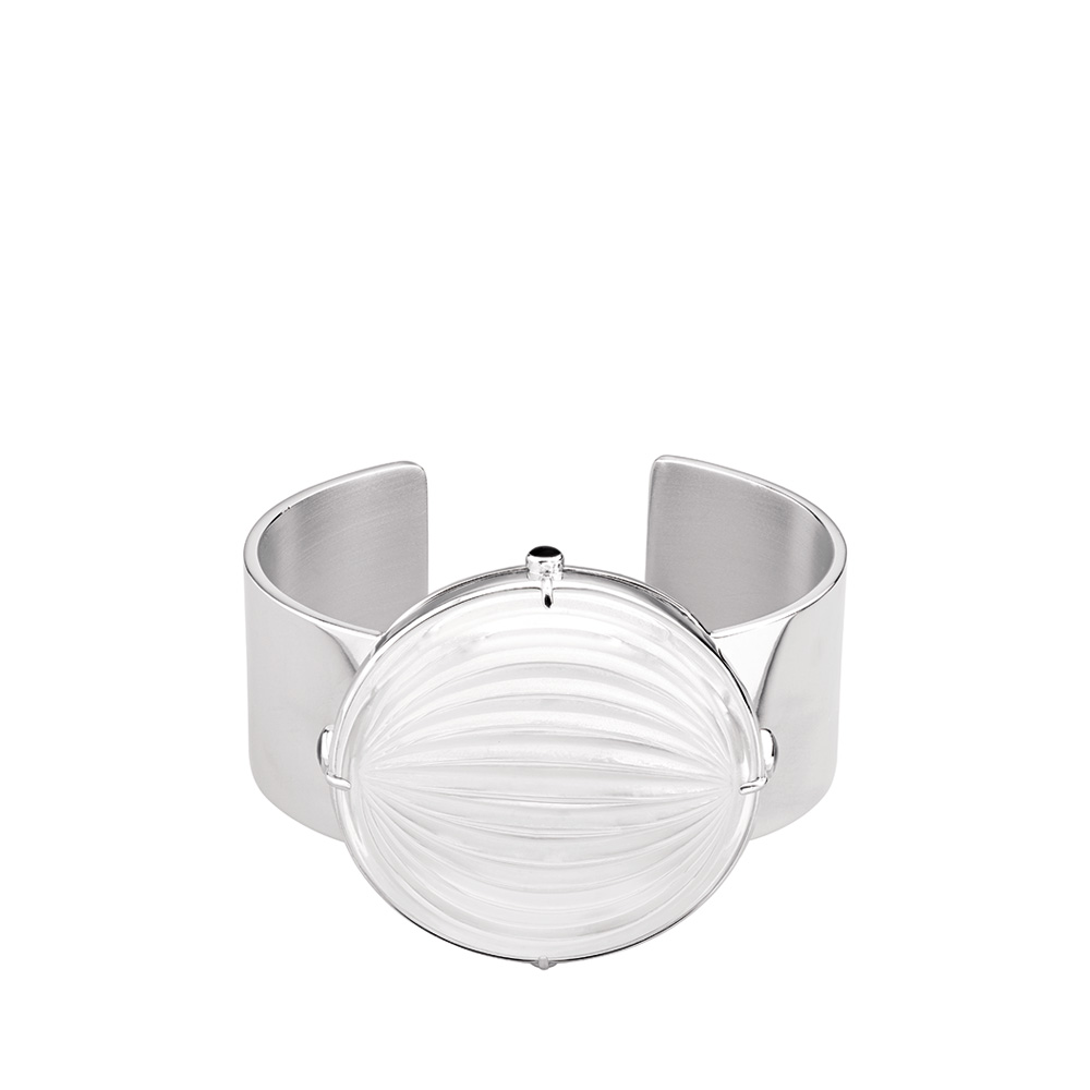 Vibrante bangle bracelet | Clear crystal, silver | Costume jewellery Lalique