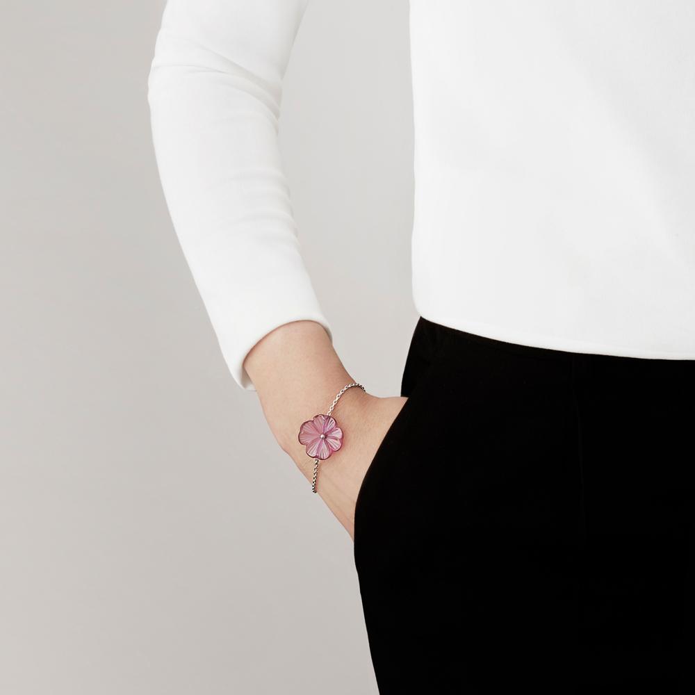 Pensée bracelet | Fuchsia crystal, silver | Costume jewellery Lalique
