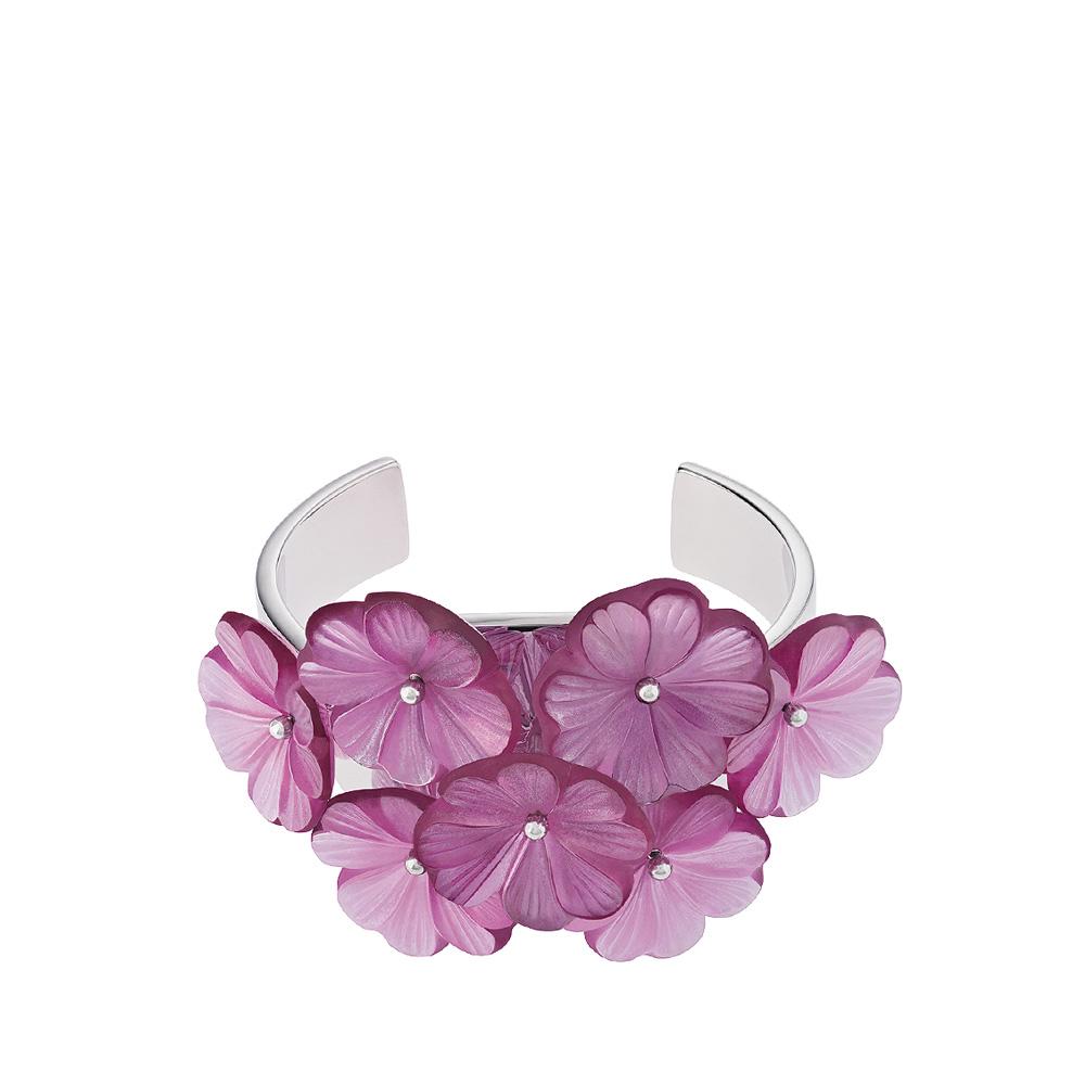 Pensée bangle bracelet | Fuchsia crystal, silver | Costume jewellery Lalique
