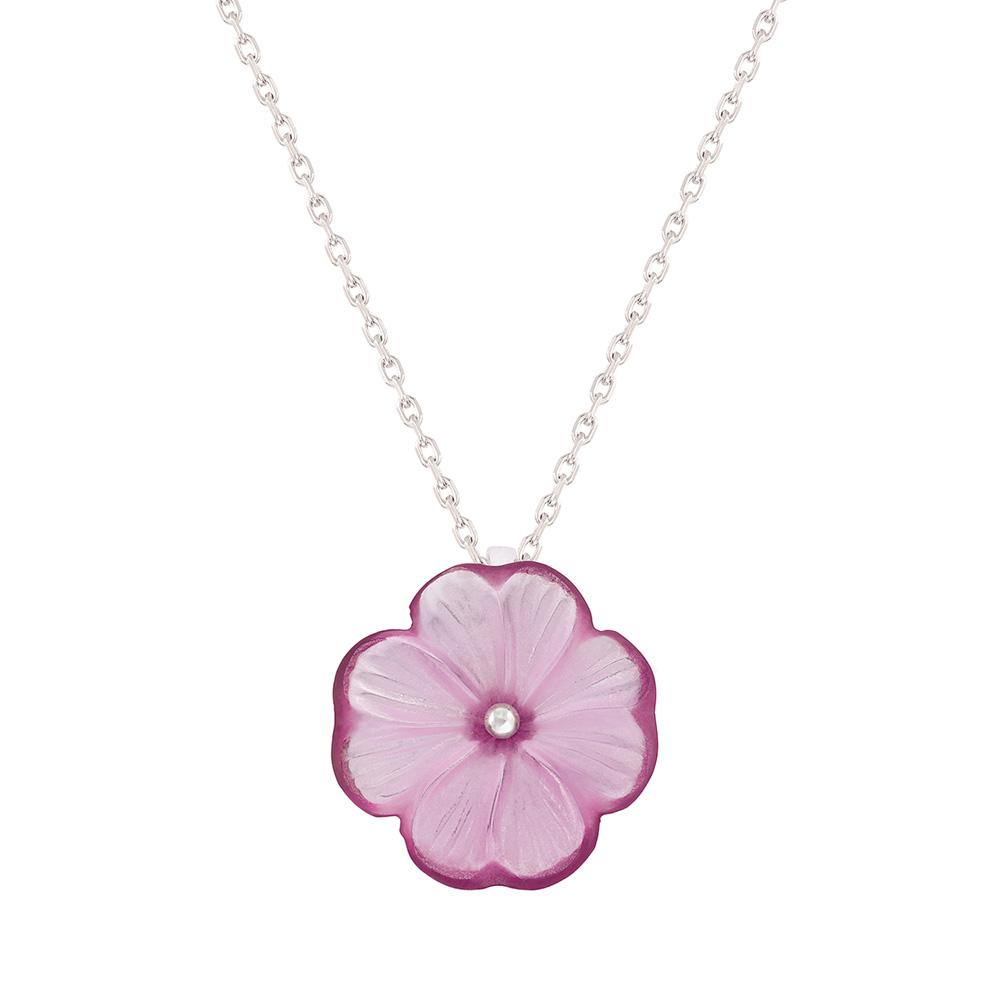 Pensée pendant | Fuchsia crystal, silver | Costume jewellery Lalique