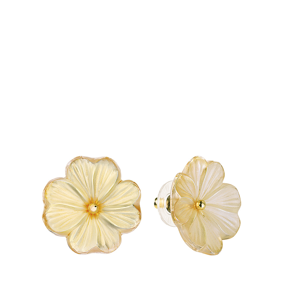Pensée earrings   Clear crystal golden luster, vermeil, pin clasp system   Costume jewellery Lalique