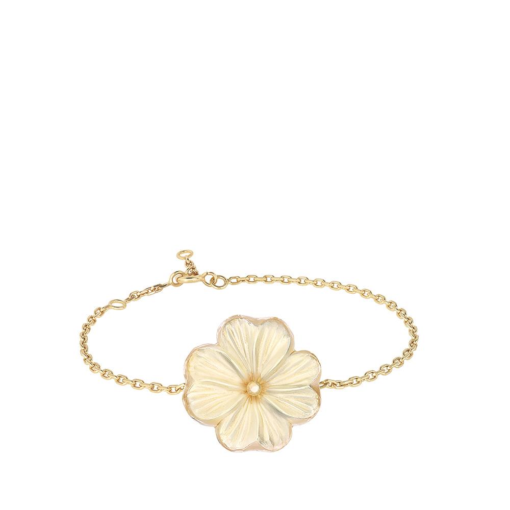 Pensée bracelet   Clear crystal golden luster, vermeil   Costume jewellery Lalique
