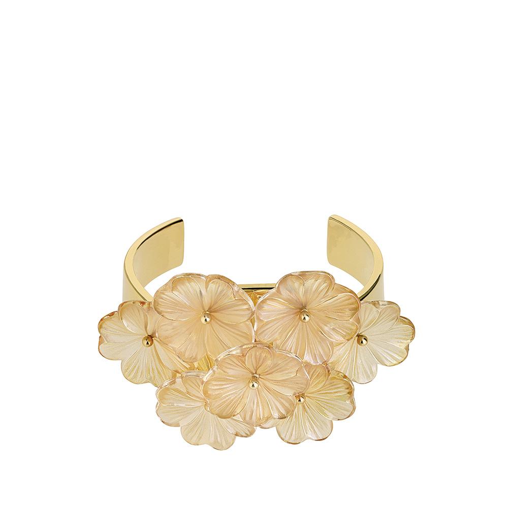 Pensée bangle bracelet | Clear crystal golden luster, vermeil | Costume jewellery Lalique