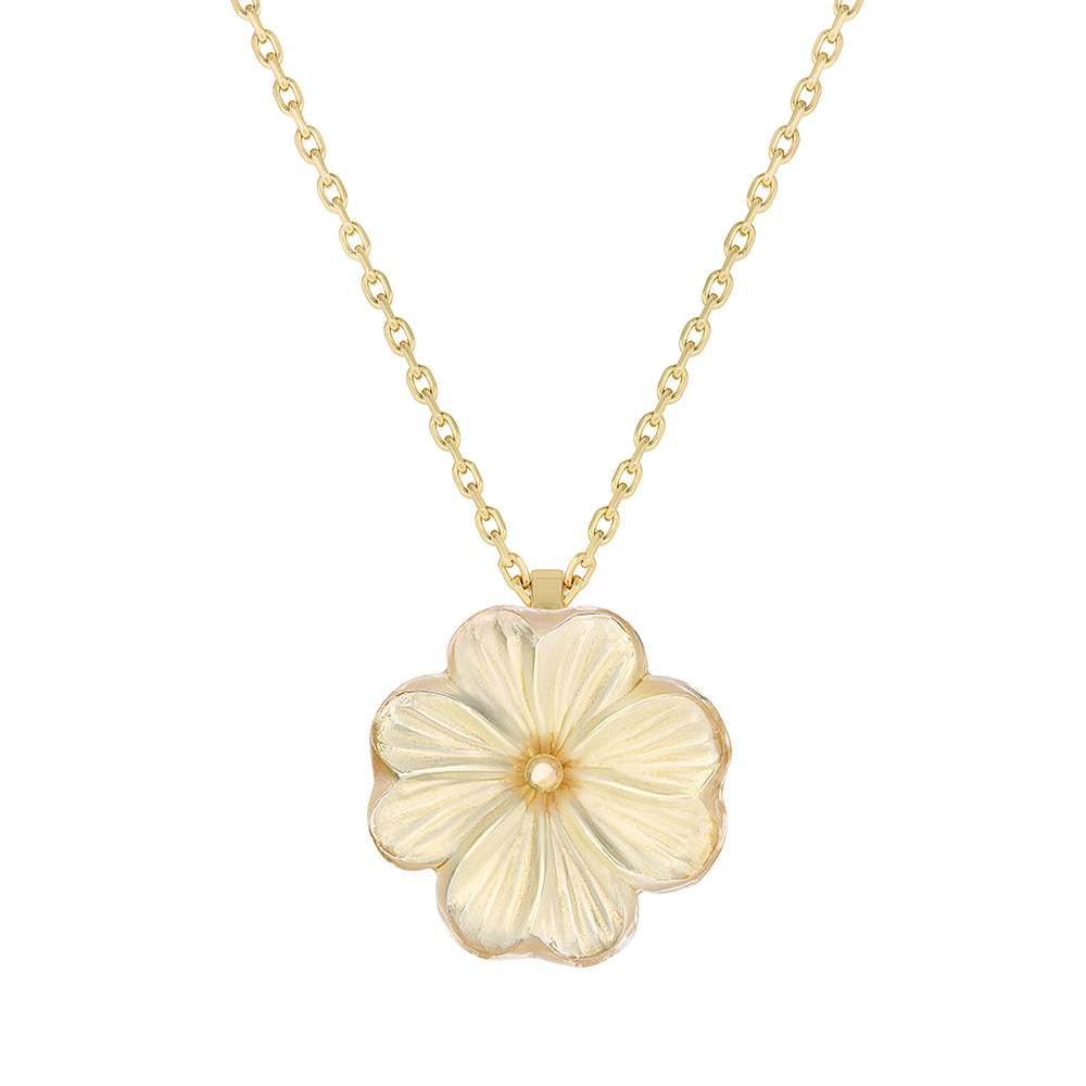 Pensée pendant | Clear crystal golden luster, vermeil | Costume jewellery Lalique