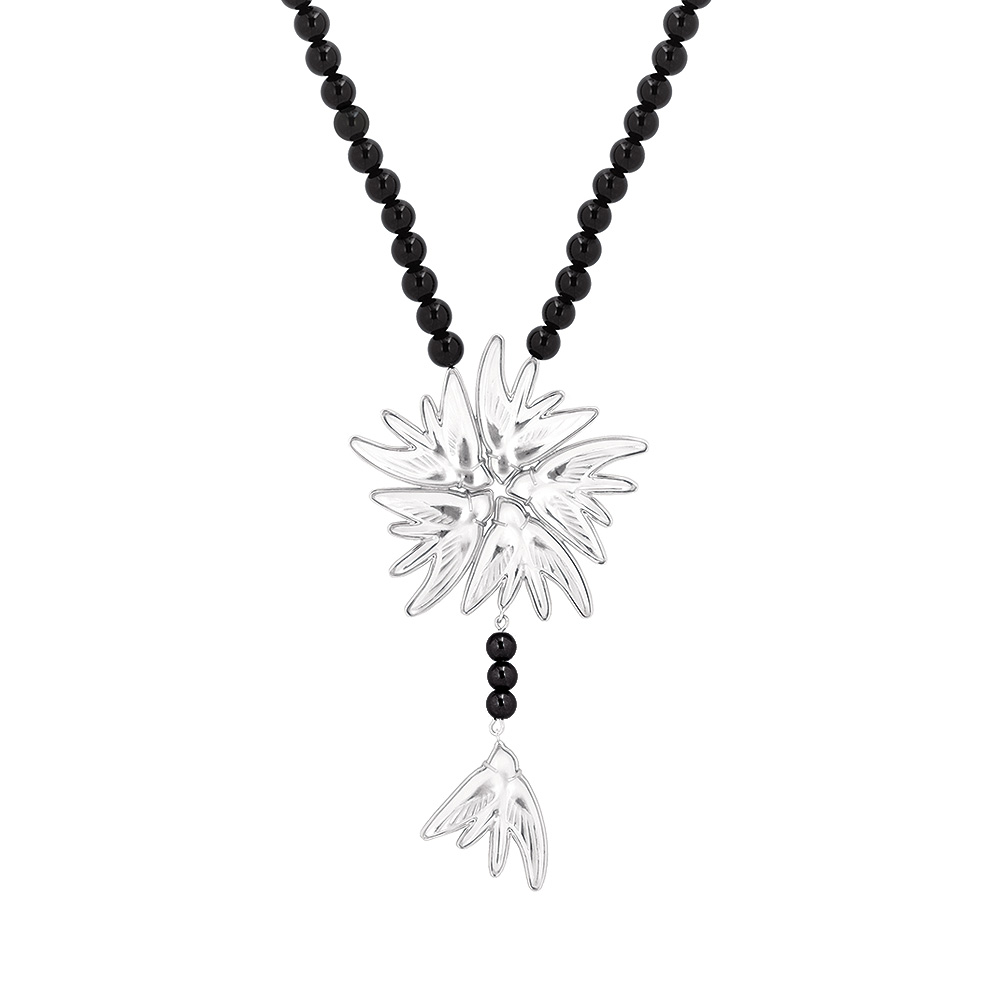 Hirondelles necklace | Clear crystal, onyx, silver | Costume jewellery Lalique