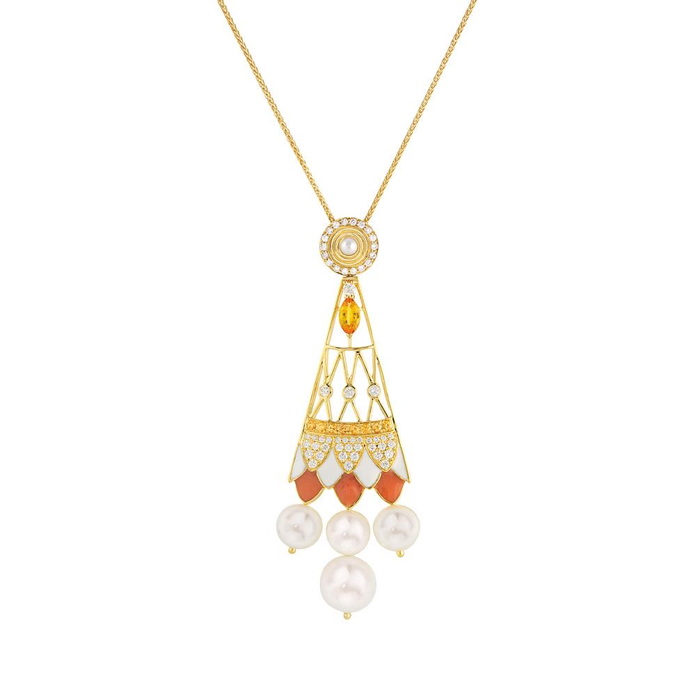Soleil de Gaïa pendant | Diamonds, sapphires, fresh water cultured pearls, yellow gold | Fine jewellery Lalique