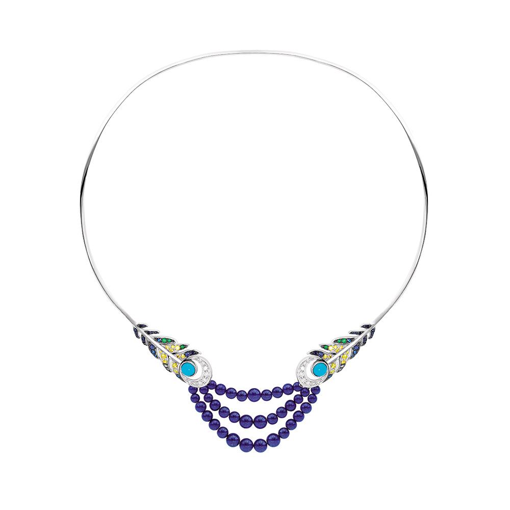 Paon necklace | Turquoises, lapis-Lazuli, sapphires, white gold | Fine jewellery Lalique