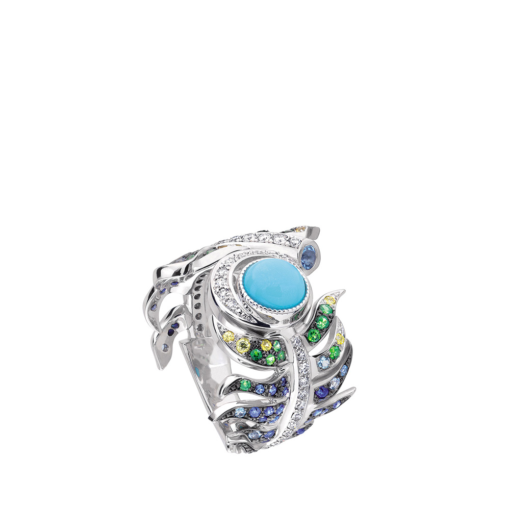 Paon ring | Turquoises, sapphires, diamonds, white gold | Fine jewellery Lalique