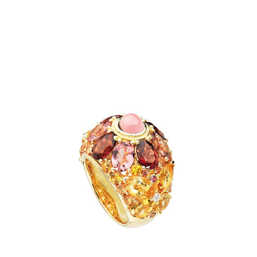 Ailes de Psyché ring   Sapphires, tourmalines, garnets, citrines and diamonds, yellow gold   Fine jewellery Lalique