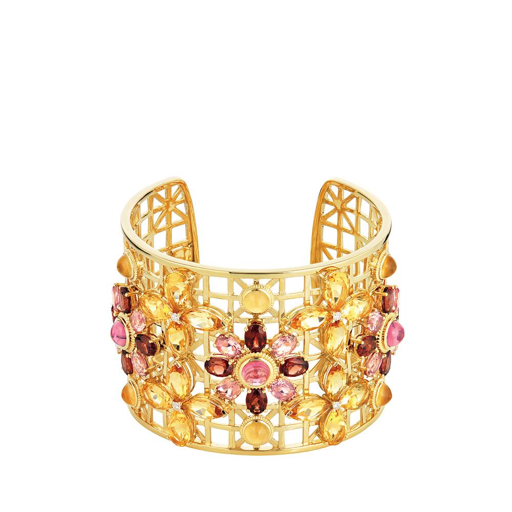 Ailes de Psyché bracelet | Tourmaline, garnet, citrine, sapphires, yellow gold | Fine jewellery Lalique
