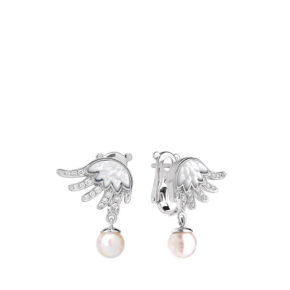 Vesta earrings | Diamonds, pearl, white gold | Fine jewellery Lalique