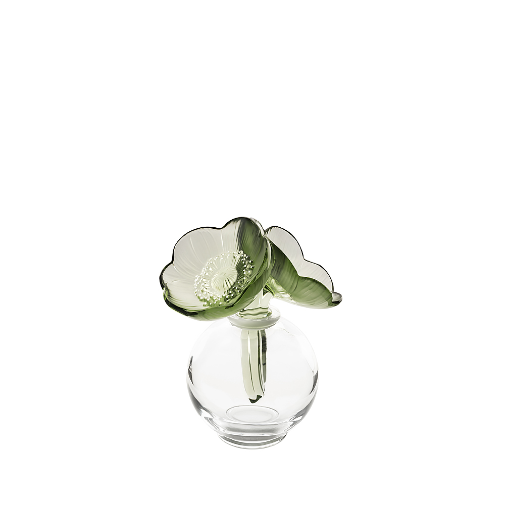 2 Anemones perfume bottle | Clear crystal, green crystal and white enamelled | Perfume bottle Lalique