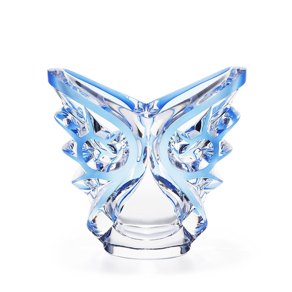 Tourbillons oval vase | Clear crystal, blue platinated | Vase Lalique