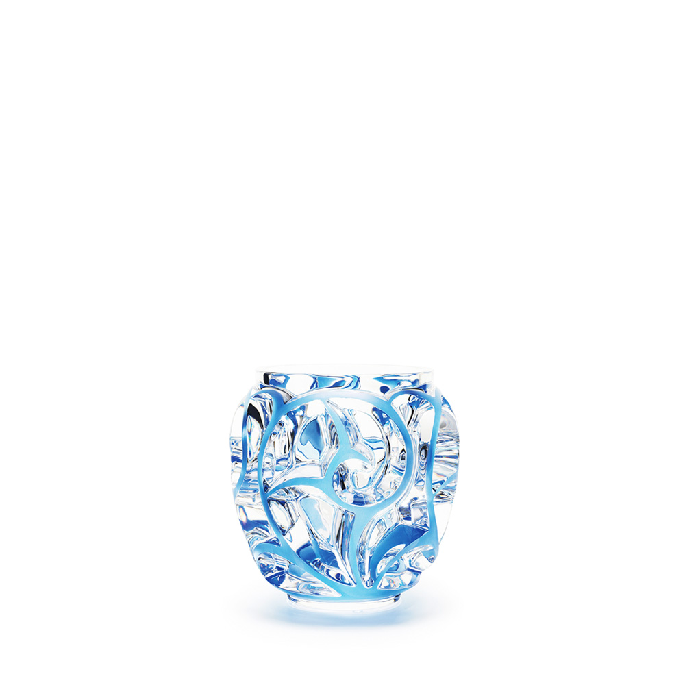 Tourbillons vase | Clear crystal, blue patinated, small size | Vase Lalique