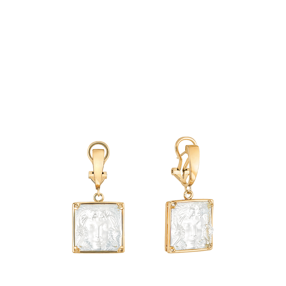 Aréthuse earrings | Clear crystal, yellow gold | Lalique fine jewellery